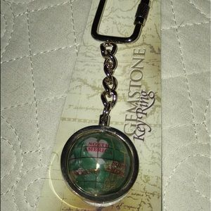 "Accessories - NEW Gemstone Key Chain Original Box Globe spins 4"""